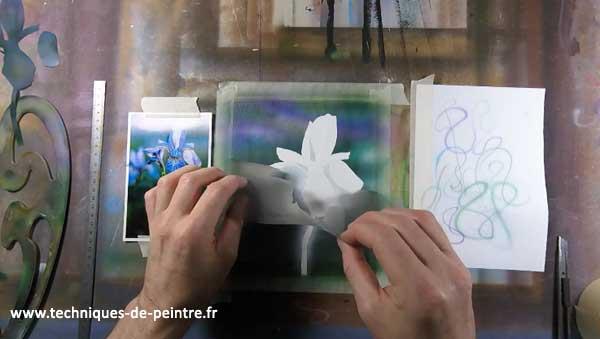 peindre-fleur-iris-aerographe-techniques-de-peintre