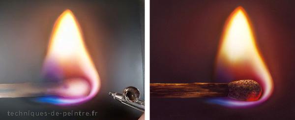 Flamme d'allumette peinte à l'aérographe grâce au mélange optique des couleurs