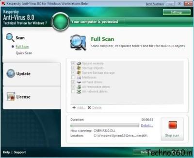 Kaspersky Antivirus 8 for Windows 7