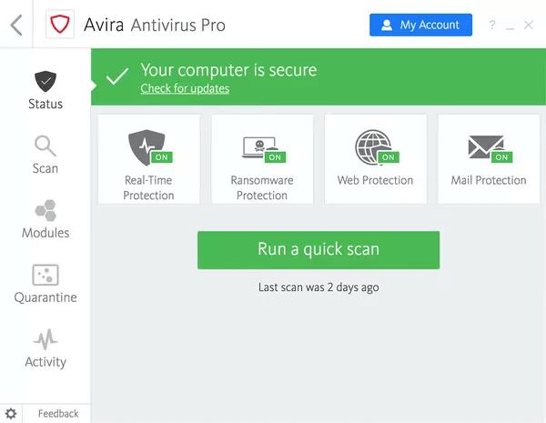 Avira Antivirus Pro 2020 Interface