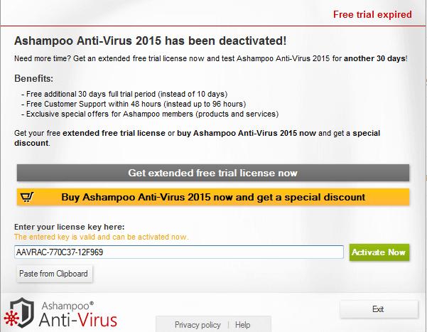 ashampoo antivirus 2015 license