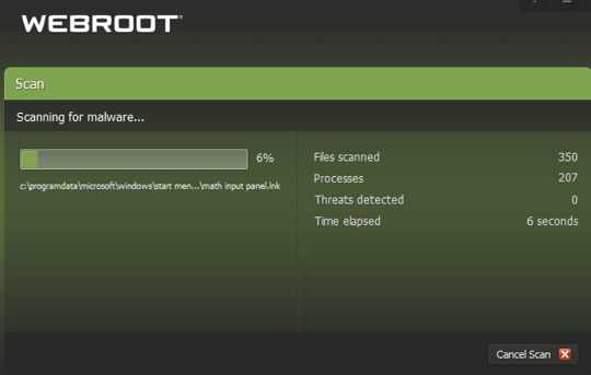 Webroot SecureAnywhere - Scan your PC