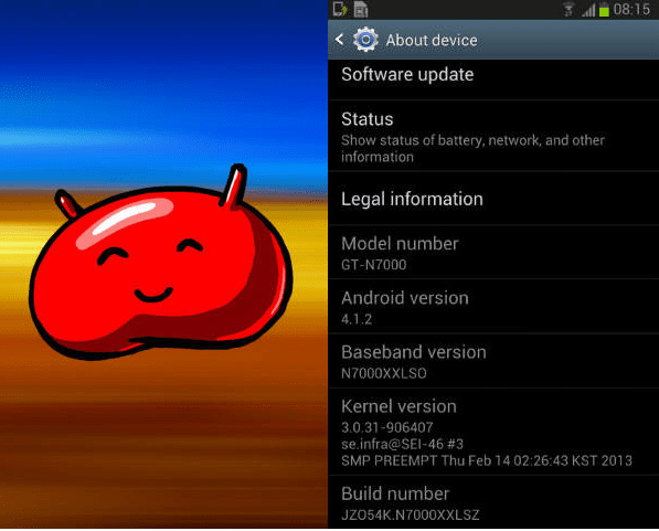 galaxy note android 4.1.2 jelly bean update
