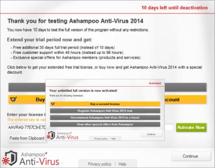 Ashampoo Anti-Virus 2014 license