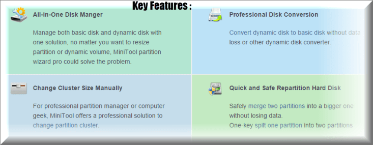 MiniTool Partition Wizard pro key features
