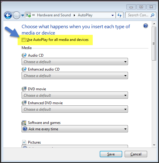 disable autoplay function in windows