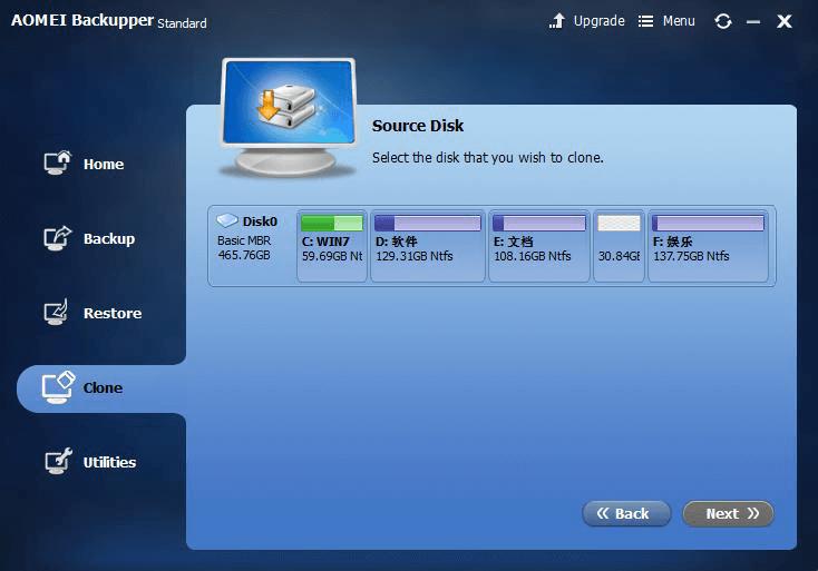 AOMEI Backupper clone function