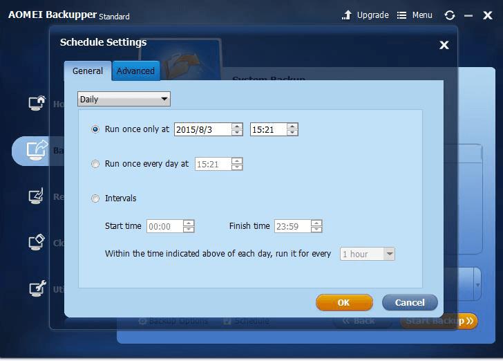 AOMEI Backupper schedule settings