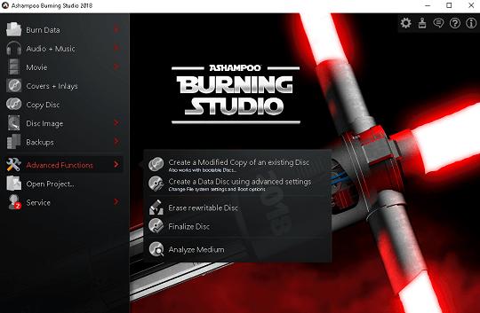 ashampoo burning studio 2018 interface