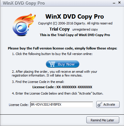 winx dvd copy pro license code