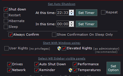 auto shutdown pc with w8 sidebar