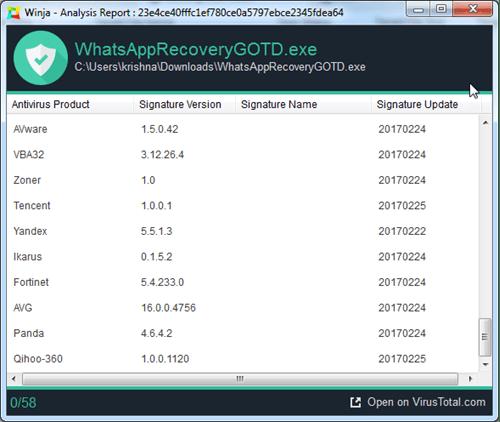 WhatsApp Recovery virus check