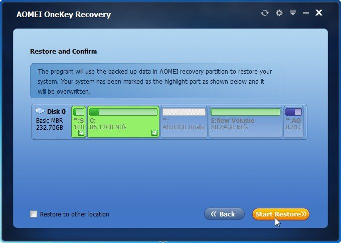 AOMEI OneKey Recovery change partition