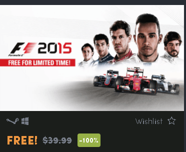 F1 2015 Full Game Free for limited time & F1 2017 free to play for 2 days
