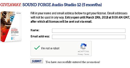 SOUND FORGE Audio Studio 12 giveaway