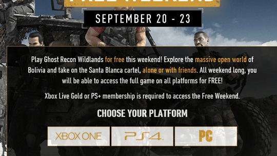 Play Ghost Recon Wildlands for free this weekend!