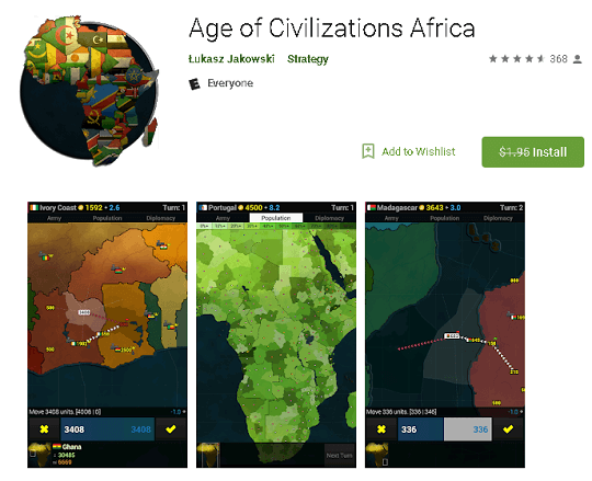 Age of Civilizations Africa Android Game was $1.95, Now Free