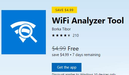 WiFi Analyzer Tool for Windows 10 Now Free[Worth $4.99]