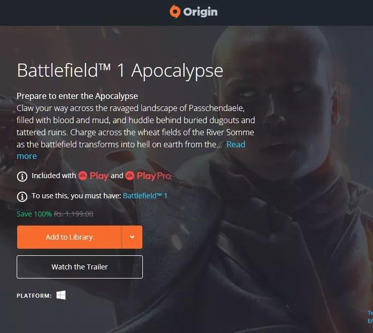 Battlefield 1 Apocalypse Free on Origin and PSN