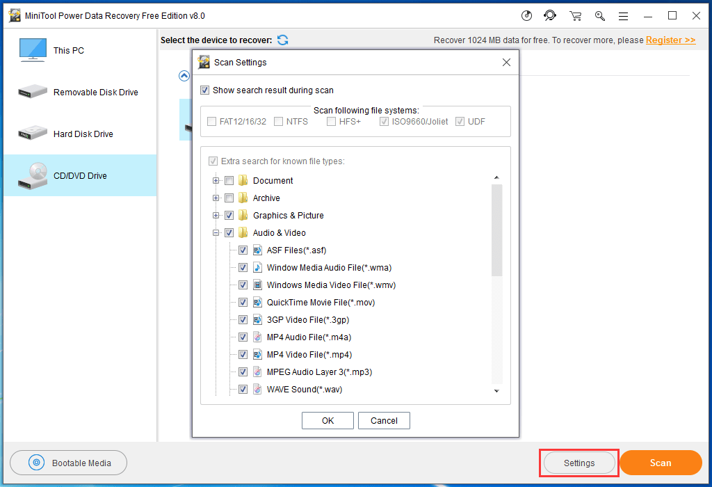 use settings function to choose the data type you want to recover