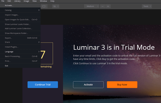 Luminar 3 activation