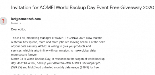AOMEI Backupper Pro World Backup Day Giveaway