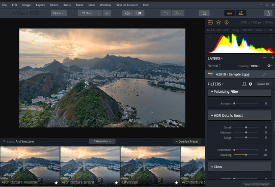 AURORA HDR Pro interface