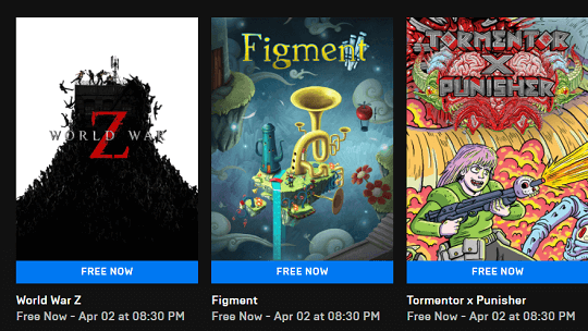 World War z, Figment and Tormentor x Punisher free on Epic store