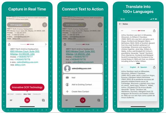 ABBYY TextGrabber and translator
