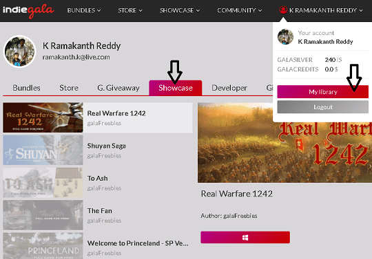 Indiegala Game Library