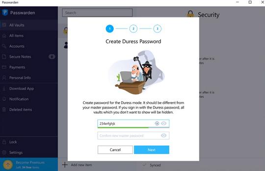 KeepSolid Passwarden -Duress Password
