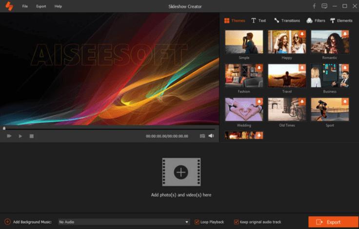 Aiseesoft Slideshow Creator - Main Interface