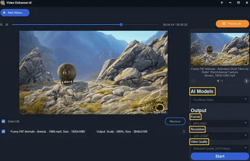 DVDFab Video Enhancer AI-UI