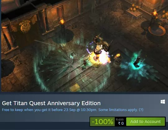 Titan Quest Anniversary Edition free on steam