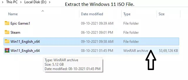 Extract the Windows 11 ISO File