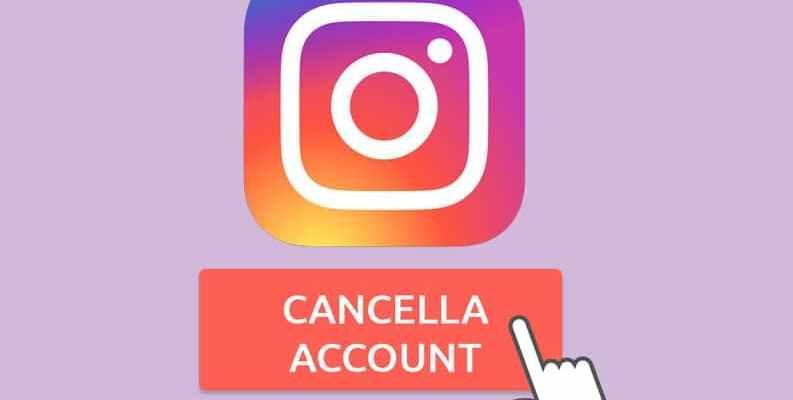 cancellare account instagram