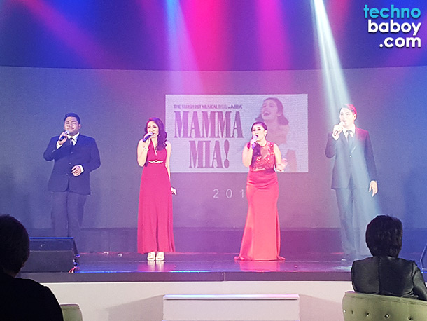 Singers were performing a mash-up of popular songs from Broadway musical hits.