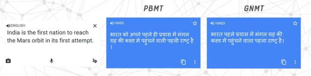GNMT example english to hindi