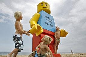 giant lego man washed up on Dutch beach