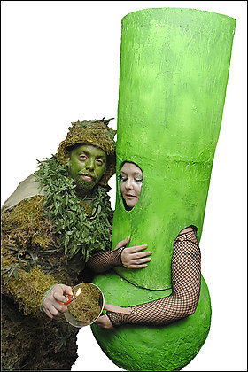 captain weed and bong girl