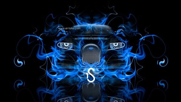 Bugatti Cars with Blue Fire Background