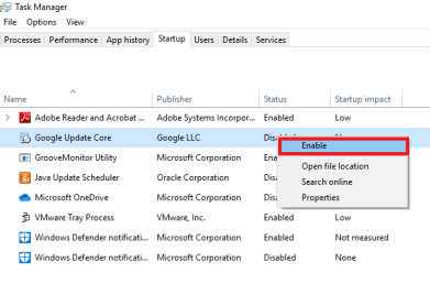 disable startup program windows10 3
