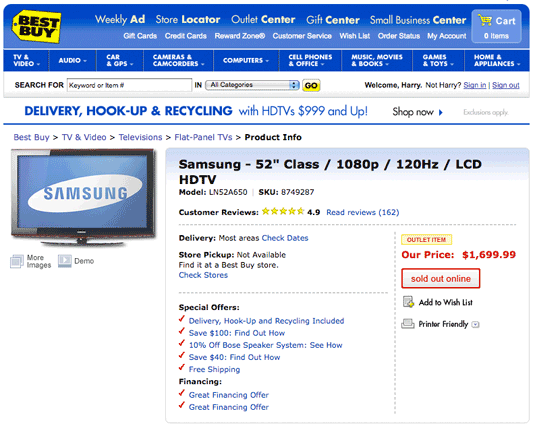 Best Buy TV full price