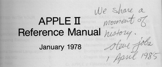 Steve Jobs Signs an Apple II Manual