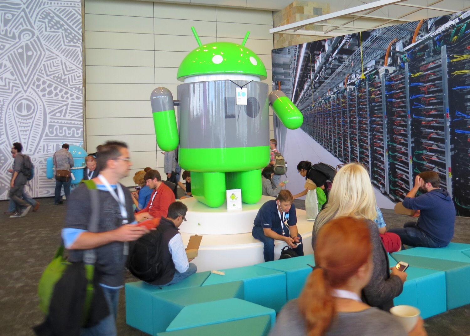 One of many giant Androids towering over the human attendees at Google I/O at San Francisco's Moscone Center
