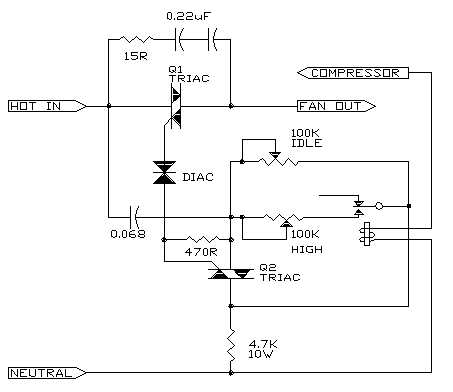 wiring diagram for ac unit capacitor pioneer avh x4800bs rv fan speed controller professor mark csele the best overall design uses two triacs to generate a train of triggering pulses which are completely symmetrical important with motor such as this
