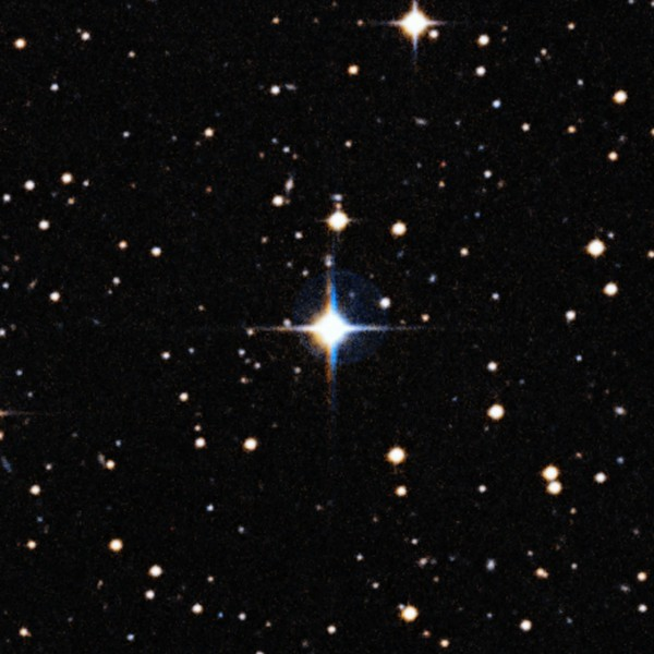 This image shows solar twin HIP 102152, a star located 250 light-years from Earth in the constellation of Capricornus (The Sea Goat). HIP 102152 is more like the Sun than any other solar twin — apart from the fact that it is nearly four billion years older, giving us an unprecedented chance to study how the Sun will look when it ages. It is the oldest solar twin identified to date, and was studied by an international team using ESO's Very Large Telescope, led by astronomers in Brazil. The different colours of the star are caused by the star moving slightly between the two exposures, many years apart.