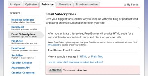 Enable/Activate FeedBurner Email Subscriptions