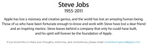 Apple's tribute paragraph to Steve Jobs