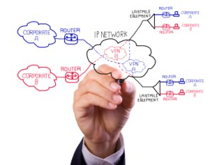 Business man's hand writing virtual private network concept